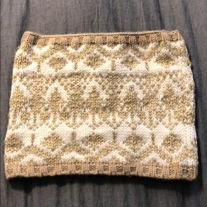 Tan and cream chunky knit infinity scarf